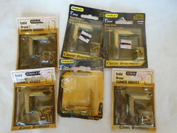 STANLEY 80-3800 1 INCH INSIDE SOLID BRASS CORNER BRACES  W SCREWS 6- 4 PACKS