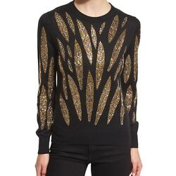 LIBERTINE WOMENS EMBELLISHED-LEAVES CASHMERE SWEATER