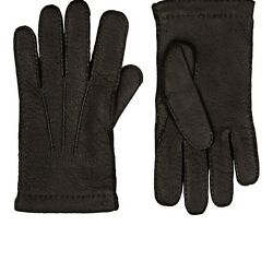 BARNEYS NEW YORK MENS CASHMERE-LINED LEATHER GLOVES
