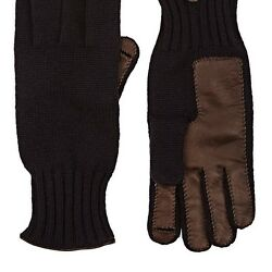BARNEYS NEW YORK MENS LEATHER-ACCENTED CASHMERE GLOVES