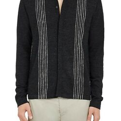LANVIN MENS CONTRAST-STITCHED MERINO WOOL CARDIGAN
