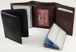 RFID Mens Trifold Wallet - Scan Proof Wallet Insert Multi Card Holder Leather