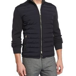 TOM FORD MENS ZIP-FRONT PUFFER JACKET WITH SWEATER SLEEVES