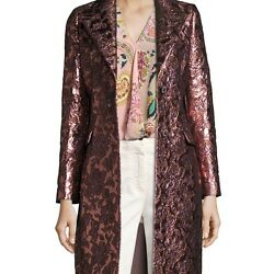 ETRO WOMENS FLORAL BROCADE SINGLE-BREASTED COAT