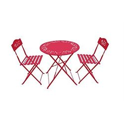 Metal Bistro Set 3 Pieces Table & Chairs Outdoor Patio Garden Decoration Red