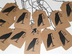 12 Primitive Black Country Crow Star Hang Tags Gift Ties Ornies Party Decor