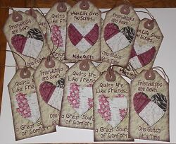 12 Primitive Quilt Themed Card Stock Hang Tags Dollies Ornies Gift Ties Decor