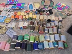 Sewing box filled with supplies 60 spools of thread needles ric rac and more