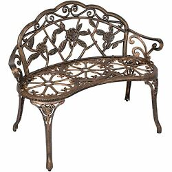 Outdoor Patio Garden Bench Park Yard Furniture Cast Iron Antique Rose Bronze