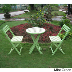 3 Piece Folding Patio Set Bistro Wood Green Pool Garden Table Chairs Portable