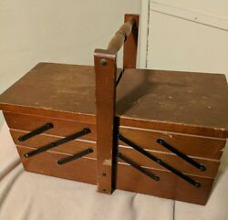 Wooden Sewing Folding Box Basket Filled With Supplies Vintage Antique Time Cap.
