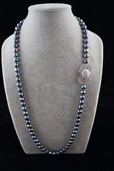 Round Baroque 33 inches long 10-11 mm Peacock Pearl Necklace with Ornament