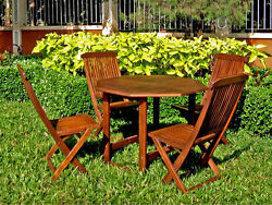 Folding Outdoor Dining Set Solid Wood Table & Chairs 5 Pcs Patio Yard Furniture