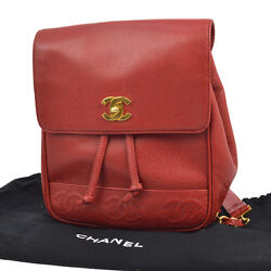 Auth CHANEL CC Logos Drawstring Backpack Red Caviar Skin Leather Vintage AK09127