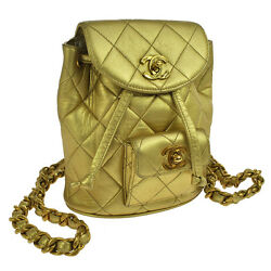 Authentic CHANEL CC Logos Quilted Backpack Gold Leather Vintage GHW AK10139