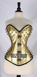 Gold Over bust CorsetLingerie Real Steel Bones Lace Up Back Real Pure Leather