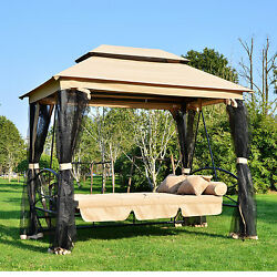 2 in 1 Patio Swing Gazebo Canopy Daybed Hammock Canopy Tent Outdoor Furniture