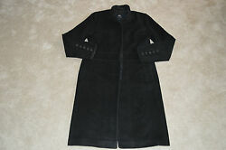 Burberry London Black Wool Cashmere Long Trench Over Coat Womens UK 12  US 10