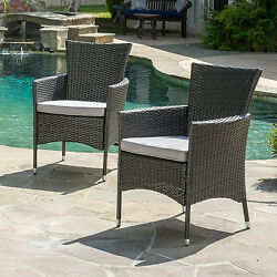 Modern Outdoor Furniture Patio Cushions Wicker High Back Dining Chairs Set of 2