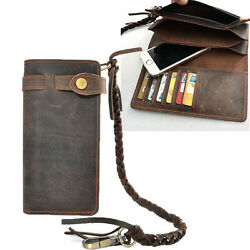 Vintage Men#x27;s Leather Card Holder Long Chain Trucker Wallet Biker Billfold Purse $23.99