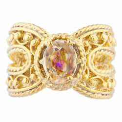 14Kt Yellow Gold Plated Natural Ecstasy Mystic Topaz Oval Cocktail Design Ring