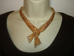 14K Yellow White Gold Woven Knotted Mesh Scarf Diamond Tipped Fringe Necklace