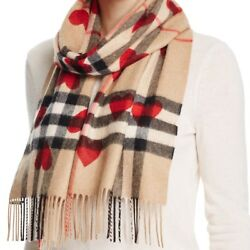 BURBERRY WOMENS HEART PRINT GIANT CHECK REVERSIBLE CASHMERE SCARF
