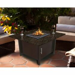 American Fire Products Carmel Chat Height Square Granite Top Gas Fire Pit