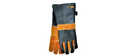 Premium Heat Resistant Cowhide Grain Leather BBQ Grill Grate & Fireplace Gloves