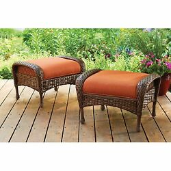 Chair And Ottoman Set Of 2 Outdoor Patio Seat Cushioned Padded Wicker Furniture