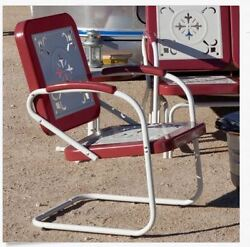 Retro Metal Lawn Chairs Red Outdoor Vintage Patio Garden Pool Porch Deck Modern