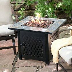Small Fire Pit Table Patio Mosaic Top Propane Fireplace Tables Backyard Burner
