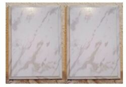 Pack of 2 White Marble Finish Blank Wood Plaque 9