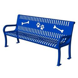 UV Resistant Blue Thermoplastic Coated Steel Paws Commercial Dog Park Bench