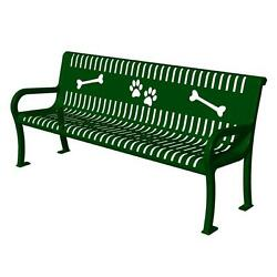 Surface Mounted Thermoplastic Coated Green Paws Commercial Dog Park Bench