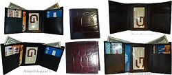 Lot of 6 Italian Style Crocodile Printed Leather Man's Brown Trifold wallet BNWT