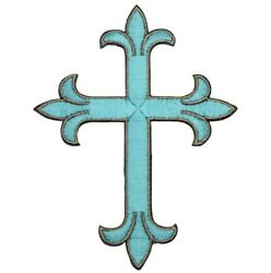Turquoise Christian Cross Applique Patch (Iron on)