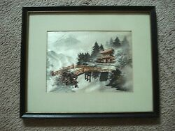 Vintage Framed Japanese Silk Tthread Picture  Mt. Fuji with House