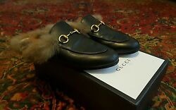 Gucci Princetown Black Leather Slippers Loafers Fur Lined 37 backorder online