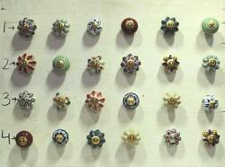 Vintage Door Ceramic Knob Wardrobe Drawer Handle Pull 24 Pc Cupboard Lot PAG 287
