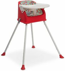 Multi Use High Chair Red Floor Booster Seat Metal Durable Molded Plastic Modern