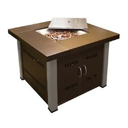 Bronze Stainless Steel Liquid Propane 38-in W 40000-BTU Hammered Gas Fire Table