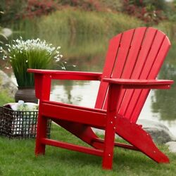 Adirondack Chair Plastic RecycledPolyethylene Patio Chairs Deck Furniture Red