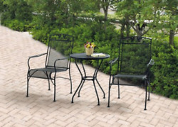 Outdoor Bistro Table Chair Set Wrought Iron 3 Piece Furniture Patio Garden Black