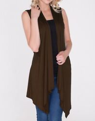 New Women#x27;s Coffee Brown Open Front Long Tunic Vest Top Draped Cardigan SML Plus $10.99