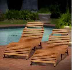 Chaise Lounge Chair Pool Furniture Outdoor Patio Wood Folding Set Of 2 Deck Yard