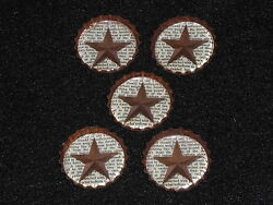 5 Primitive Americana Barn Star Rusty Bottle Caps Decor Party Favors Embellish