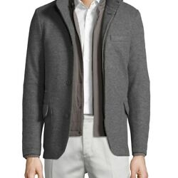 LORO PIANA MENS CASHMERE DOUBLE-JERSEY 3-IN-1 SWEATER JACKET