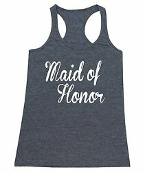 MAID OF HONOR wedding gift bridal party Women#x27;s junior fit Racerback Tank Top $12.95
