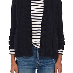 BARNEYS NEW YORK WOMENS CABLE-KNIT CASHMERE CARDIGAN